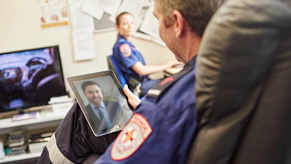 Ambulance worker having virtual appointment